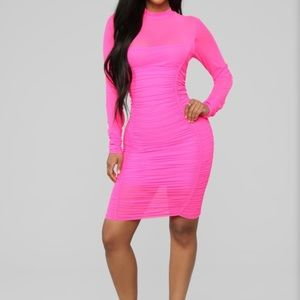 On The Bright Side Neon Mini Dress (Neon Pink)